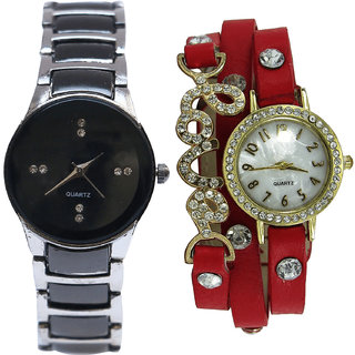 Neutron Contemporary Italian Designer  Analogue Silver And Red Color Girls And Women Watch - G207-G205 (Combo Of  2 )