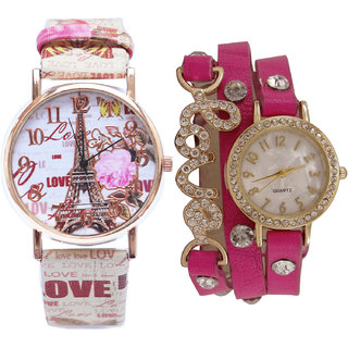 Neutron New Love Paris Eiffel Tower And Love Valentine Analogue Multi Color And Pink Color Girls And Women Watch - G189-G204 (Combo Of  2 )