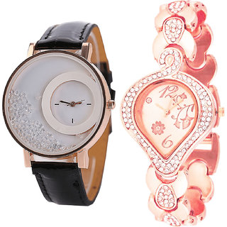 Neutron Modern 3D Design Movable Dimond And Flower Analogue Black And Rose Gold Color Girls And Women Watch - G177-G230 (Combo Of  2 )