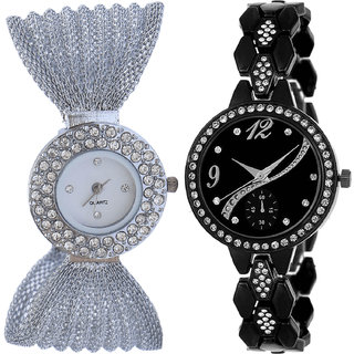Neutron Classical Collection Jula Analogue Silver And Black Color Girls And Women Watch - G169-G222 (Combo Of  2 )