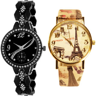 Neutron Best Collection  Analogue Black And Multi Color Color Girls And Women Watch - G222-G251 (Combo Of  2 )