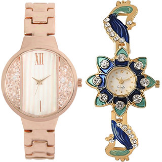 Neutron Modern Professional  Analogue Gold Color Girls And Women Watch - Gl217-G119 (Combo Of  2 )