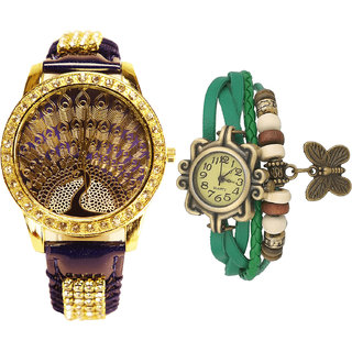 Neutron Modish Collection Peacock And Butterfly Analogue Blue And Green Color Girls And Women Watch - G236-G60 (Combo Of  2 )