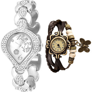 Neutron Modish Professional Flower And Butterfly Analogue Silver And Brown Color Girls And Women Watch - G231-G61 (Combo Of  2 )