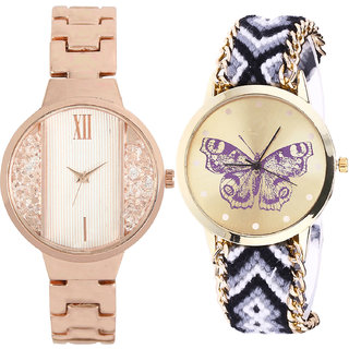 Neutron Modern Valentine  Analogue Gold And Multi Color Color Girls And Women Watch - Gl217-G141 (Combo Of  2 )