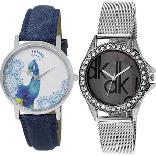 Neutron Brand New Fancy Peacock Analogue Blue And Silver Color Girls And Women Watch - Gl241-G175 (Combo Of  2 )