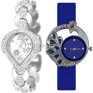 Neutron Modish Model Flower And Peacock Analogue Silver And Blue Color Girls And Women Watch - G231-G77 (Combo Of  2 )