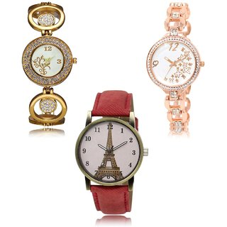 Neutron Contemporary Valentine Flower,Star And Paris Eiffel Tower Analogue Gold And Red Color Girls And Women Watch - Gl204-Gl210-Gl230 (Combo Of  3 )