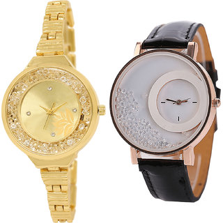 Neutron Best 3D Design Flower And Movable Dimond Analogue Gold And Black Color Girls And Women Watch - Gl224-G177 (Combo Of  2 )