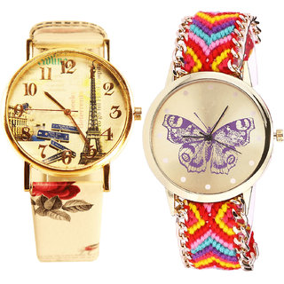 Neutron Modish Italian Designer Paris Eiffel Tower And Butterfly Analogue Multi Color Color Girls And Women Watch - G253-G131 (Combo Of  2 )