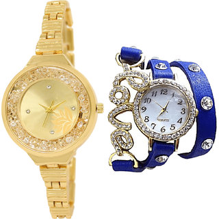 Neutron New Fancy Flower And Love Valentine Analogue Gold And Blue Color Girls And Women Watch - Gl224-G203 (Combo Of  2 )