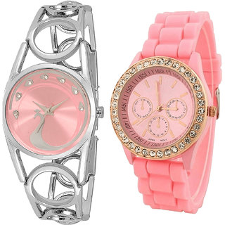 Neutron Treading Traditional Peacock Analogue White And Pink Color Girls And Women Watch - Gl233-G217 (Combo Of  2 )