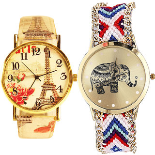 Neutron Modern Fancy Paris Eiffel Tower And Elephant Analogue Multi Color Color Girls And Women Watch - G261-G159 (Combo Of  2 )
