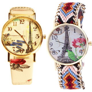 Neutron Classical Fashionable Paris Eiffel Tower Analogue Multi Color Color Girls And Women Watch - G253-G151 (Combo Of  2 )