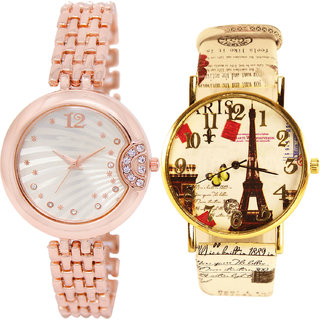 Neutron Classical Traditional  Analogue Gold And Multi Color Color Girls And Women Watch - Gl228-G257 (Combo Of  2 )