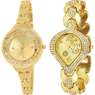 Neutron New Valentine Flower Analogue Gold Color Girls And Women Watch - Gl224-G229 (Combo Of  2 )