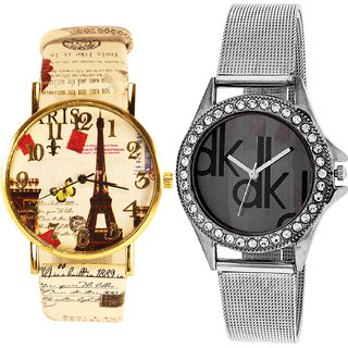 Neutron Latest Love Paris Eiffel Tower Analogue Multi Color And Silver Color Girls And Women Watch - G257-G175 (Combo Of  2 )