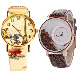 Neutron Best Professional Paris Eiffel Tower And Movable Dimond Analogue Multi Color And Brown Color Girls And Women Watch - G253-G179 (Combo Of  2 )
