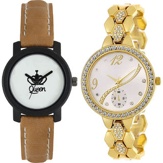 Neutron Latest Technology Queen Analogue Brown And Gold Color Girls And Women Watch - Gl209-G223 (Combo Of  2 )