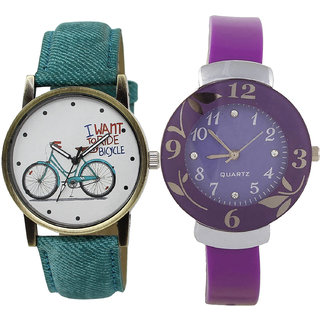 Neutron New Love Bicycle And Flower Analogue Blue And Purple Color Girls And Women Watch - Gl229-G27 (Combo Of  2 )