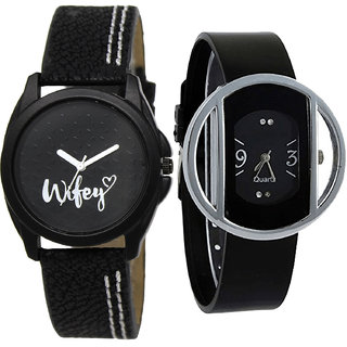 Neutron Contemporary Model Wife Analogue Black Color Girls And Women Watch - Gl234-G35 (Combo Of  2 )