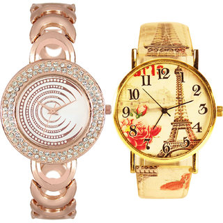 Neutron Best Branded  Analogue Gold And Multi Color Color Girls And Women Watch - Gl202-G261 (Combo Of  2 )
