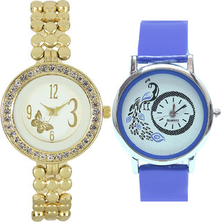 Neutron New Technology Butterfly And Peacock Analogue Gold And Blue Color Girls And Women Watch - Gl203-G19 (Combo Of  2 )