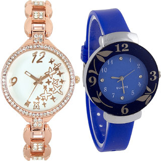 Neutron Brand New Traditional Star And Flower Analogue Gold And Blue Color Girls And Women Watch - Gl210-G25 (Combo Of  2 )