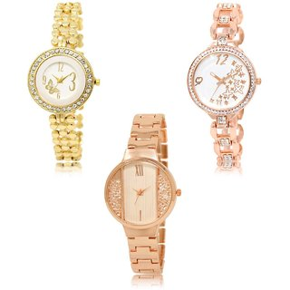 Neutron Classical Casual Butterfly And Star Analogue Gold Color Girls And Women Watch - Gl203-Gl210-Gl217 (Combo Of  3 )