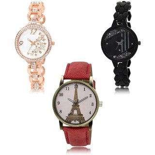 Neutron Treading Model Star And Paris Eiffel Tower Analogue Gold,Black And Red Color Girls And Women Watch - Gl210-Gl221-Gl230 (Combo Of  3 )