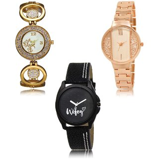 Neutron Latest Style Flower And Wife Analogue Gold And Black Color Girls And Women Watch - Gl204-Gl217-Gl234 (Combo Of  3 )