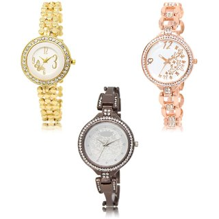 Neutron Classical Fashionable Butterfly And Star Analogue Gold And Black Color Girls And Women Watch - Gl203-Gl210-Gl236 (Combo Of  3 )
